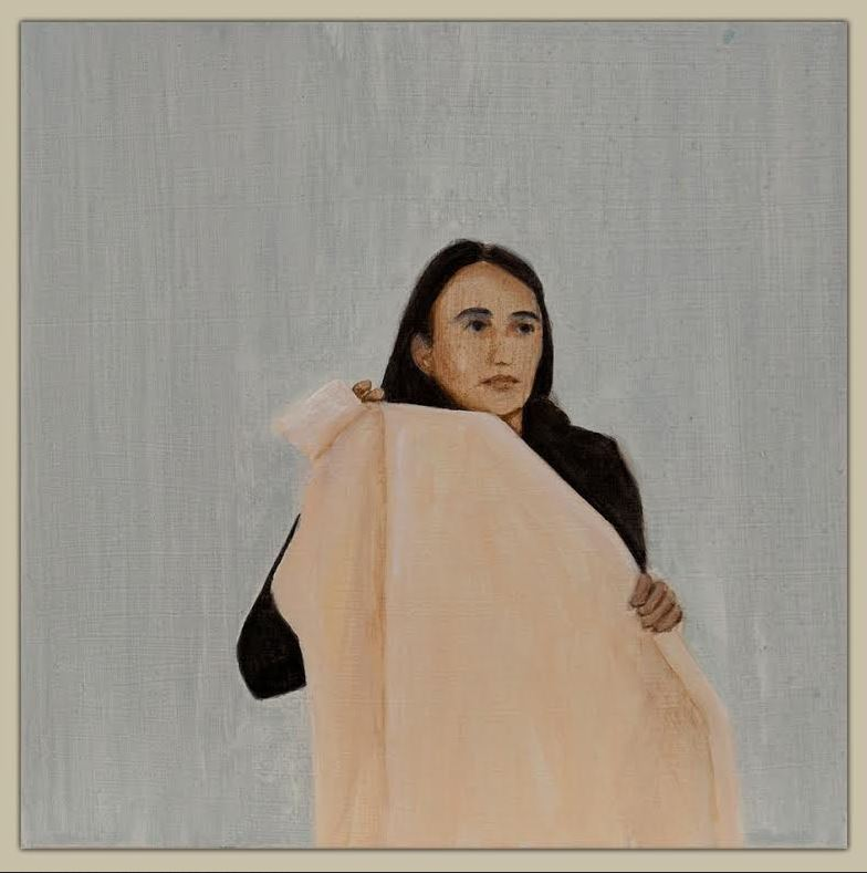 The London-based artist, Matthew Krishanu hones in on the textile used by Veronica to wipe the face of Jesus. Veronica, whose name means true icon, is the proto image-maker of Christ. She holds in her hands a length of cotton calico, a surface historically favoured by painters. In this image, Krishanu seems to highlight the moment of uncertainty experienced by any artist as he or she approaches Christ in an effort to capture his image.